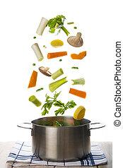 warzywa, odizolowany, tło, świeży, biały, spadanie, garnek