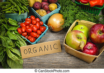 warzywa, organiczny, targ, owoce