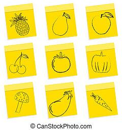 warzywa, owoc, rys, &