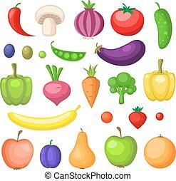 warzywa, owoce, ikony
