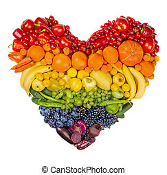 warzywa, owoce, serce, tęcza
