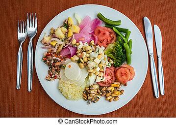 warzywa, półmisek, peruwiański, andy, cuzco, peru