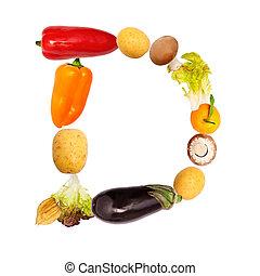 warzywa, różny, d, litera, owoce