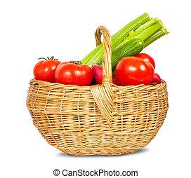warzywa, w, kosz