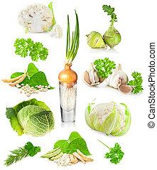 warzywa, zielone tło