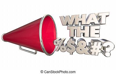 was, frage, abbildung, megafon, wörter, %$&#?, megaphon, 3d
