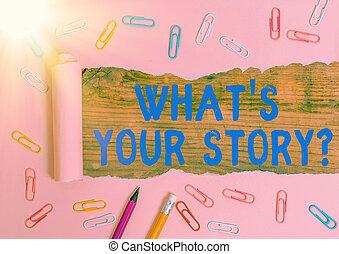 was, geschaeftswelt, hand, über, begrifflich, storyquestion., text, weise, schreibende, ausstellung, events., fragen, demonstrieren, dein, foto, vergangenheit, leben