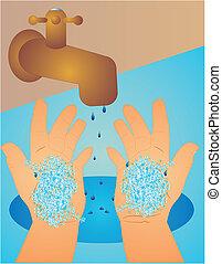 was, maak handen schoon