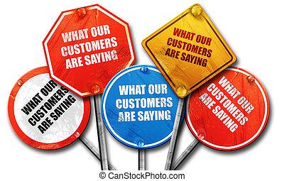 was, unser, kunden, ar, spruch, 3d, übertragung, rauh, straßenschild, c