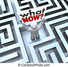 was, verloren, verwirrt, zeichen, person, besitz, labyrinth...