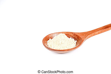 Wasabi powder in wooden spoon on white background.