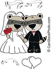 wasbeer, set, spotprent, trouwfeest