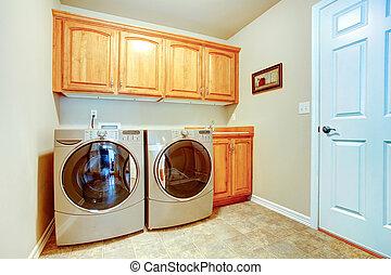 waschküche, mit, modern, haushaltsgerã¤te