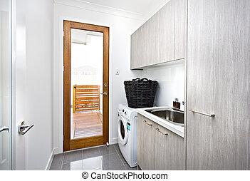 waschküche, wand, modern, grau, schränke