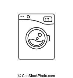 Maschine Linie Wäsche Zeichen Ikone Blaues Wäsche Schläge