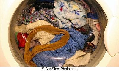 waschmaschine, wäscht, kleidung