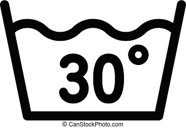 Wash at 30 degree or bellow icon, outline style - Wash at 30...