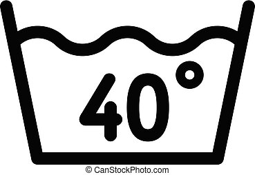 Wash at 40 degree or bellow icon, outline style - Wash at 40...