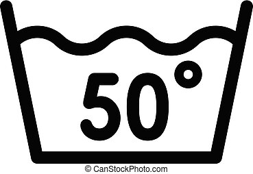 Wash at 50 degree or bellow icon, outline style - Wash at 50...