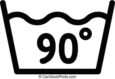 Wash at 90 degree or bellow icon, outline style - Wash at 90...