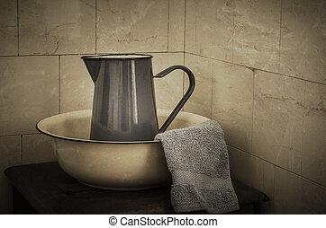 Wash Basin and Jug - Retro - Blue enamel jug, wash basin and...