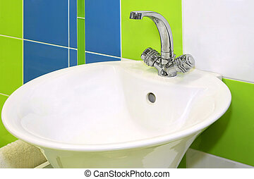 Wash basin - Close up shot of modern wash basin