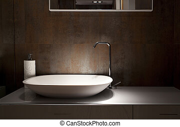 Wash basin - Design wash basin in a bathroom, an interior...