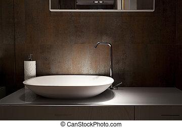 Design wash basin in a bathroom, an interior fragment.