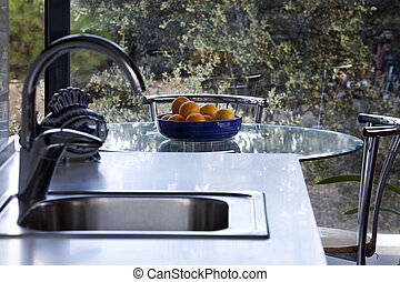 Wash basin - Design wash basin in a kitchen, an interior...