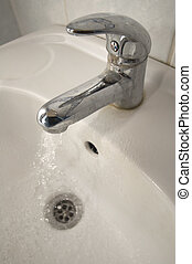 Wash Basin - white wash basin with chrome faucet detail ...