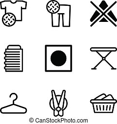 Wash clothes icon set, outline style