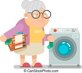 Wash dirty laundry in washing machine Household Granny Old Lady Character Cartoon Flat Design Vector illustration