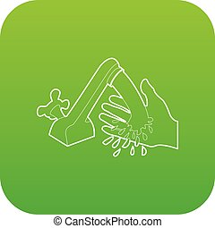Wash hand icon green vector