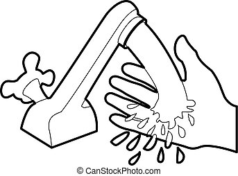 Wash hand icon outline