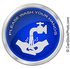 Wash hands button isolated on white background