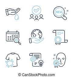 Wash hands, Dirty t-shirt and Face verified line icons set. Diploma certificate, save planet, group of people. Cogwheel, Medical calendar and New products signs. Vector