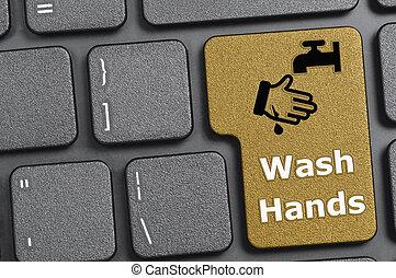 Wash hands key on keyboard