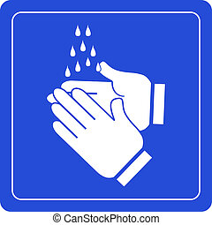 Wash hands sign on blue background