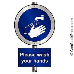 Wash hands signpost
