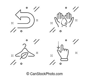 Wash hands, Undo and Slow fashion icons set. Touchscreen...