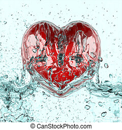 Wash heart. - 3d heart in Splash water.