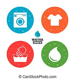 Wash icon. Not machine washable symbol. - Water drops on...