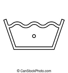 Wash in cold water Clothes care symbols Washing concept Laundry sign icon outline black color vector illustration flat style image
