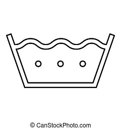 Wash in hot water Clothes care symbols Washing concept Laundry sign icon outline black color vector illustration flat style image