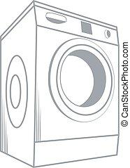 Wash Machine Isolated on White Background Vector