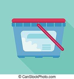 Wash plastic box icon, flat style