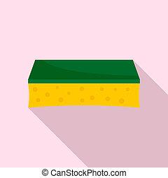 Wash sponge icon, flat style