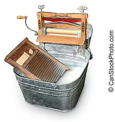 Wash Tub & Ringer - Antique wash tub isolated on white with ...