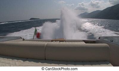 Wash wake of a boat