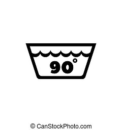 Wash Water Temperature, 90 Degrees Washing. Flat Vector Icon...